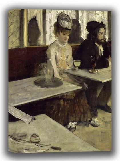 Degas, Edgar: In a Café. Fine Art Canvas. Sizes: A4/A3/A2/A1 (003749)